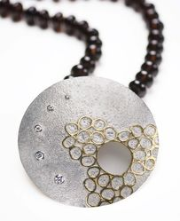 Kim M. Baxter Cosmic Breath silver gold Keum Boo pendant